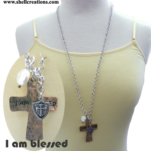 "SCM1109137BS ""I am blessed""Cross with Charms Necklace"