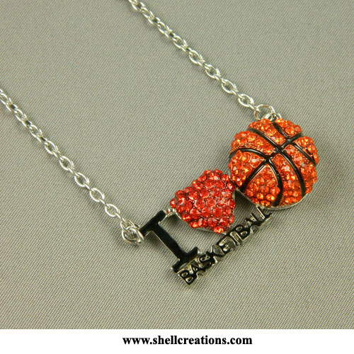 M5101210 Rhinestone I LOVE BASKETBALL Necklace