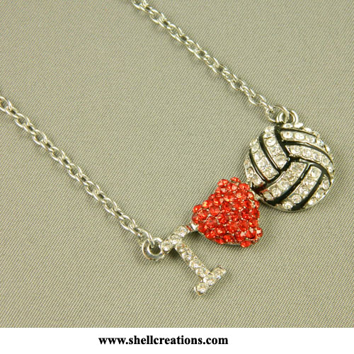 M5101213 Rhinestone I LOVE VOLLEYBALL Necklace