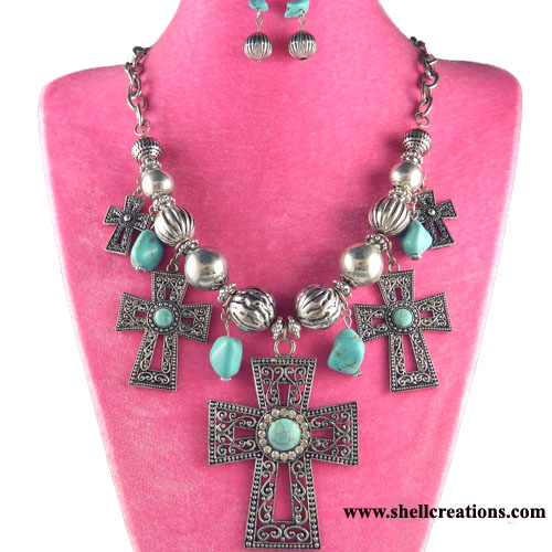 SCM630138 Fashion Turquoise Cross Necklace and Earrings Set