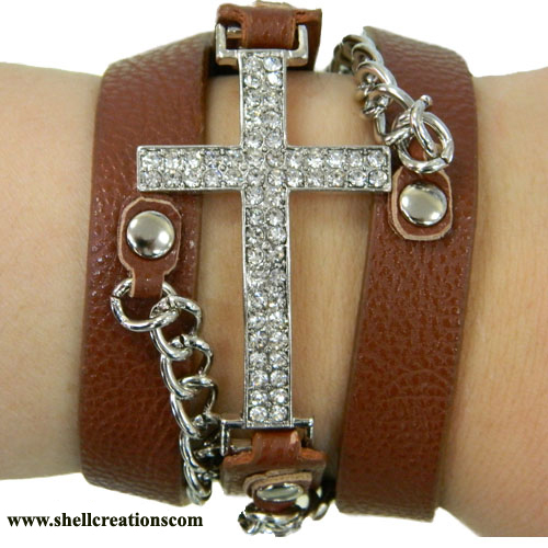 MB325132BR Western Rhinestone Cross Leather Bracelet