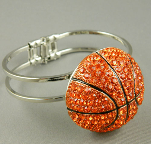 MB52128-BR RHINESTONE BASKETBALL OPENABLE BANGLE