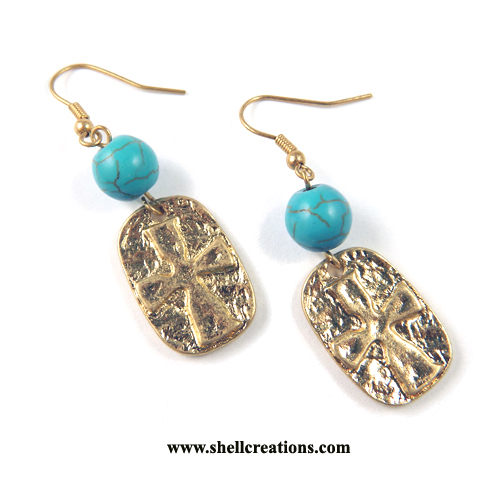 SCME1021134GD Gold Brass Cross Earrings with Turquoise Ball