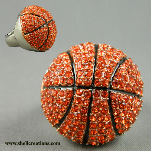 MR58125 RHINESTONE BASKETBALL RING