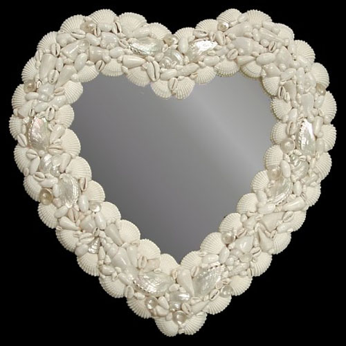 N2-30SC White Shell Heart Mirror