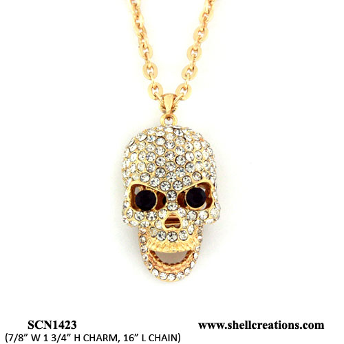 SCN1423GCR Crystal Gold Tone Skull Necklace with Moveable Jaw