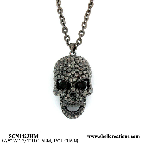 SCN1423HM Crystal Black Tone Skull Necklace with Moveable Jaw