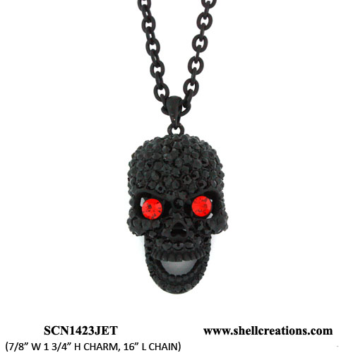 SCN1423JET Crystal Black Tone Skull Necklace with Moveable Jaw