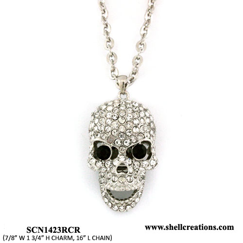 SCN1423RCR Crystal Silver Tone Skull Necklace with Moveable Jaw