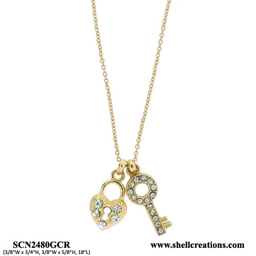 SCN2480GCR Crysta Gold Tone Heart and Key Necklace