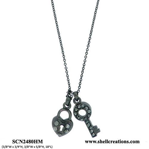 SCN2480HM Crystal Black Tone Heart and Key Necklace