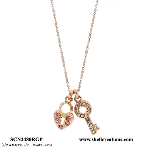 SCN2480RGP Crystal Copper Tone Heart and Key Necklace