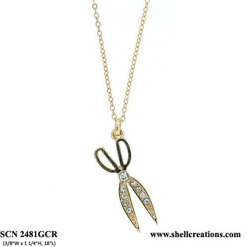 SCN2481GCR Crystal Gold Hair Stylist Scissors Necklace
