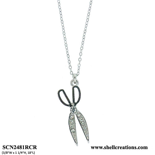SCN2481RCRCrystal Hair Stylist Scissors Necklace