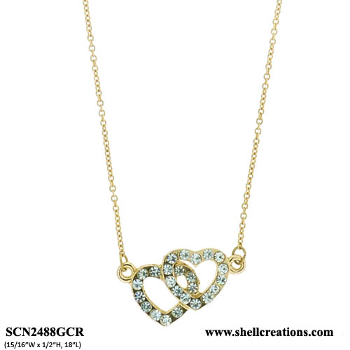 SCN2488GCR Crystal Gold Tone Double Heart Necklace