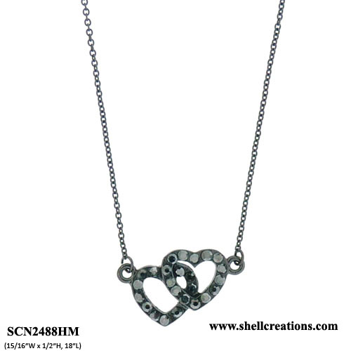 SCN2488HM Crystal Black Tone Double Heart Necklace