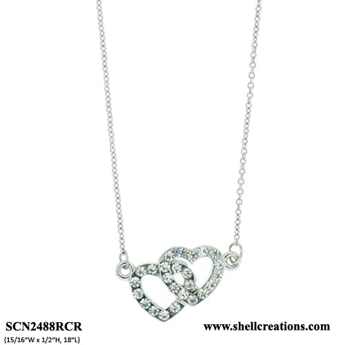 SCN2488RCR Crystal Silver Tone Double Heart Necklace