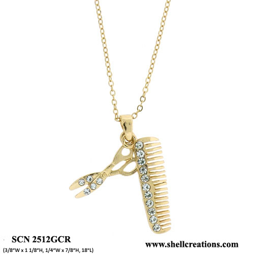 SCN2512GCR Hair Comb and Scissors Necklace