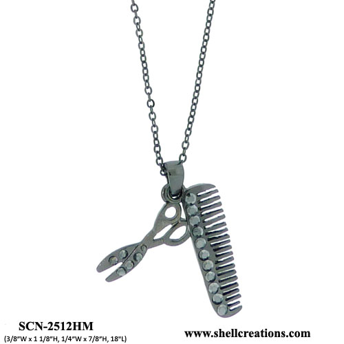 SCN-2512HM Hair Stylist Hair Comb And Scissors Necklace