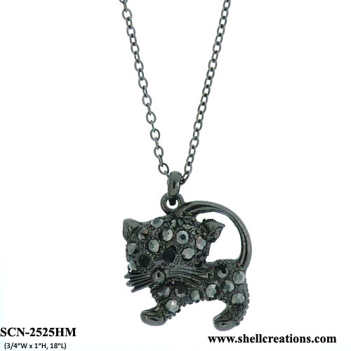 SCN-2525HM Crystal Cat Necklace