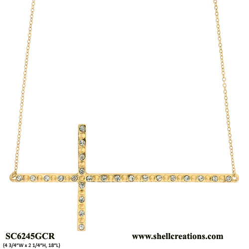 SCN6245GCR Gold-Tone Sideways Cross Pendant Necklace