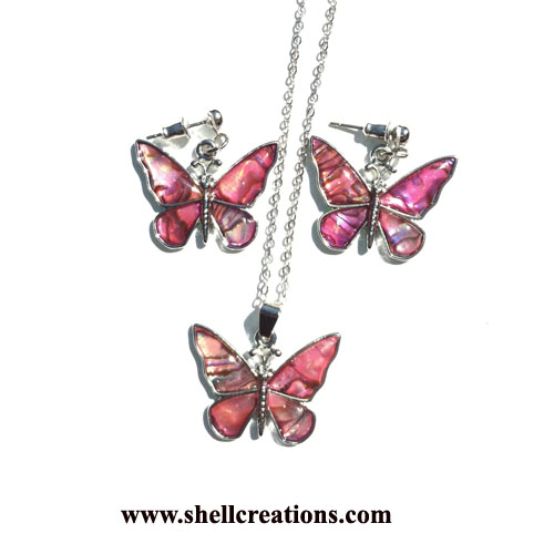 SC-5031-P Paua Shell Butterfly Earrings and Necklace Set