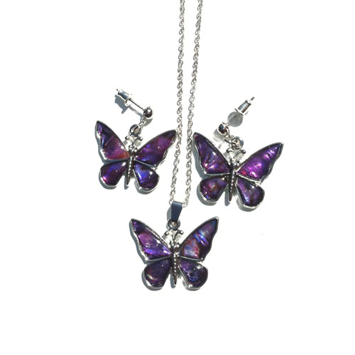 SC 5031 Violet Paua Shell Butterfly Earring/Necklace Set