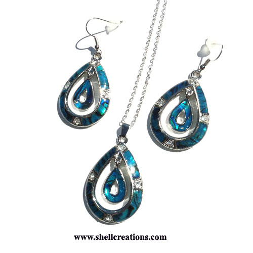 SC-7389 Paua and Crystal Teardrop Necklace/Earring Set