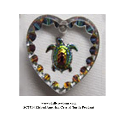 SC5714 Turtle within a Etched Austrian Crysta Heart Pendant