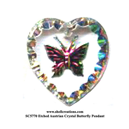 SC5770VM Etched Austrian Crystal Butterfly Pendant