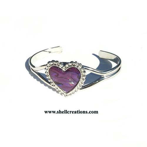 SCBL-3963 PINK PAUA SHELL HEART BANGLE