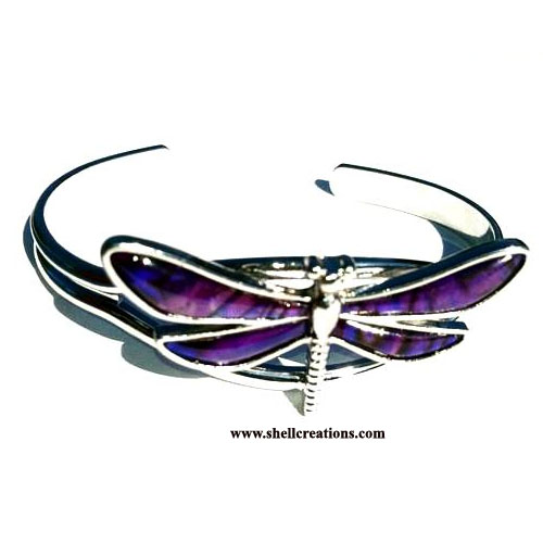 SCBL-5027 Paua Shell Purple Dragonfly Bangle