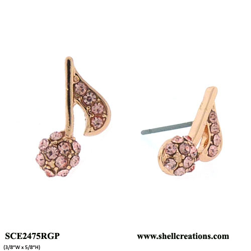 SCE2475RGR Crystal Copper Tone Music Note Stud Earrings