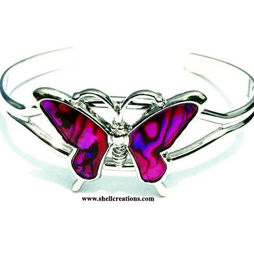 SCBL-197P Paua Shell Pink Butterfly Bangle