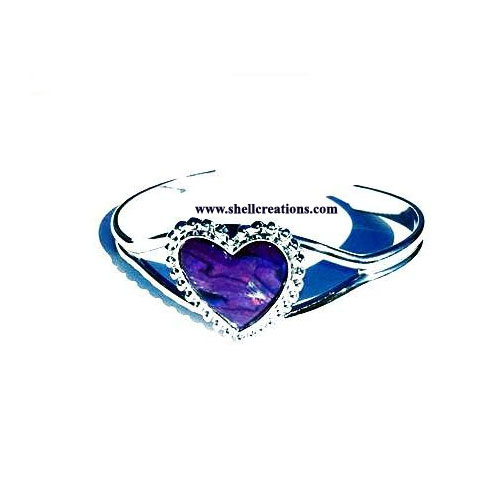 SCBL-3963 Paua Shell Purple Heart Bangle