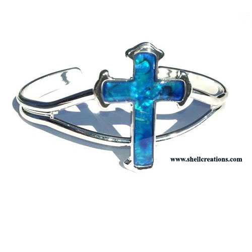 SCBL-1140 Paua Shell Blue Cross Bangle