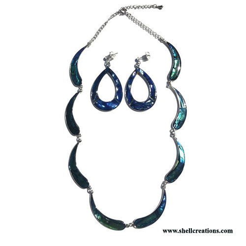 SCN7-309 Paua Shell Designer's Necklace and Earring Set