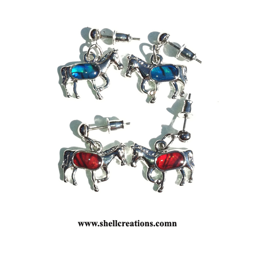 SCE2304 Paua Shell Horse Earings with Hypo-Allergenic Post