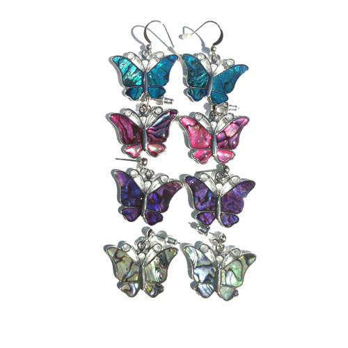 SFE-197 Paua Shell Butterfly Earrings
