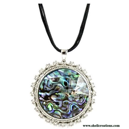 SP-16241 Paua Shell Large Round Necklace