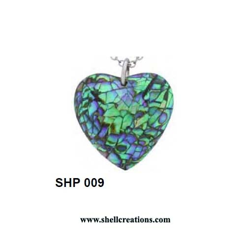 SHP 009 Hand Carved Paua Shell Heart Pendant