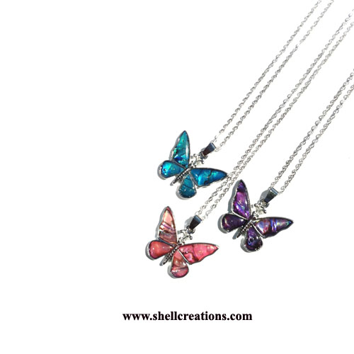 SC-5031-N Paua Shell Butterfly Necklace