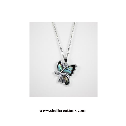SCP8039 Paua Shell Large Butterfly Necklace