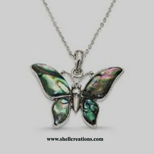 SP4811 Natural Shell Large Butterfly Necklace