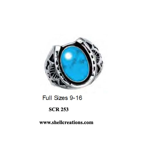 SCR 253 Sterling Silver Turquoise Horseshoe Ring