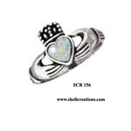 SCR 156 Sterling Silver Ring with Lab Opal Heart