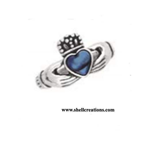 SCRP 156 Sterling Silver Heart Ring with Blue Paua Shell