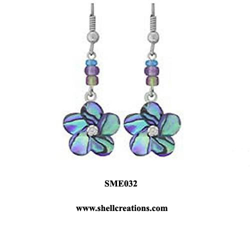 SME 032 Paua Shell Blue Flower Dangle Earring