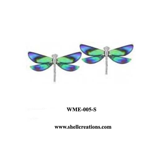 WME-005-S Paua Shell Dragonfly Post Earrings