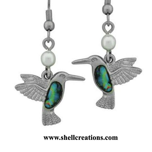 SC-WME-127 Paua Shell Hummingbird Dangle Earrings
